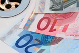 euro banknotes going down the drain poster
