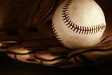 baseball and glove/ sepia poster