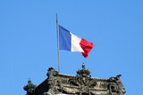 french flag on a building poster