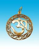gold amulet on heavens background. poster