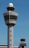 air traffic control tower at amsterdam poster