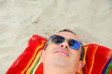 man beach relax sunglasses poster