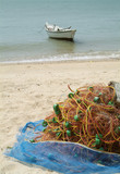 fishing net on the beach poster