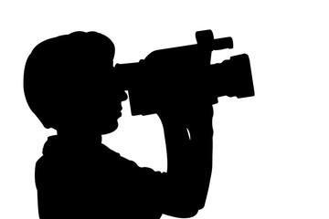 silhouette mann mit videokamera
