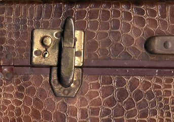 kroko leather suitcase