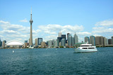 toronto skyline and cruise boat poster