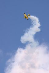 bulldog stunt biplane crests a climb