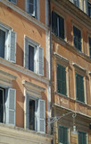 detail of old apartment buildings poster