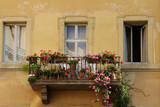 balcony with flowers poster