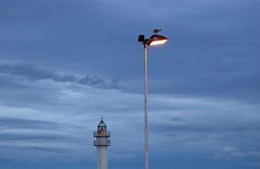 street lamp infront lighthouse
