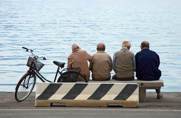 senior man citizens at the pier