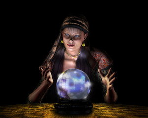 fortune teller - on black