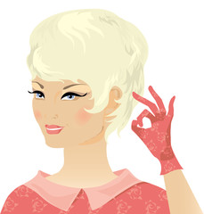 smiling blond retro lady