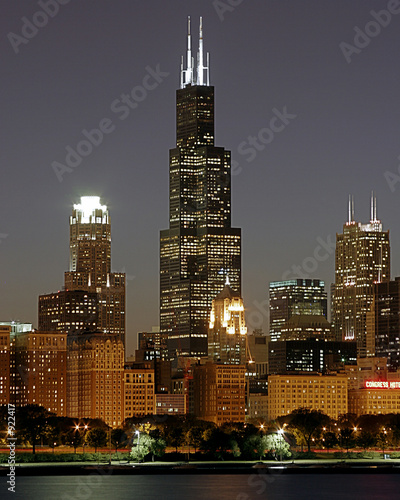 Spoed canvasdoek 2cm dik Grote meren chicago cityscape and sears tower