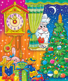 santa claus in christmas night poster