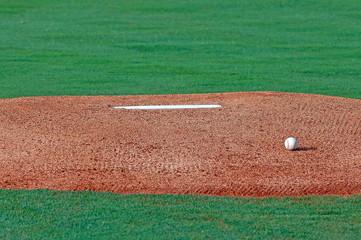 pitching mound between innings