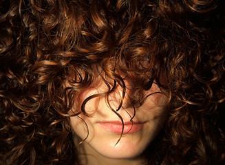 hidden woman face - hidden by hair