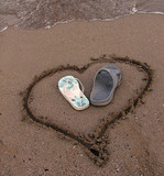two slipper in a heart on the sand poster