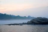 rocky misty coast poster