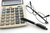 eyeglasses, pen and calculator poster