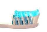 toothbrush & toothpaste - isolated on white poster