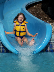 girl coming off waterslide
