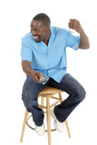 happy smiling man with remote control 1 poster