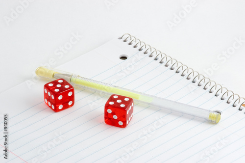notebook and dice