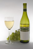 wine grapes and bottle poster