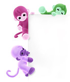 three monkeys on sign edge poster