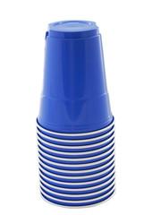 blue plastic cups