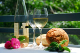white wine with glasses outside poster