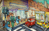 illustration dans le centre de buenos aires poster
