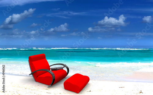 red sofa on beach
