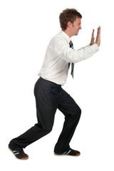 businessman pushing sideways