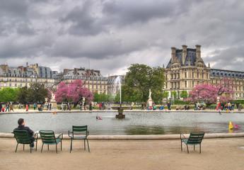 fountain in tuileries gardens, paris, france