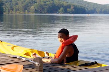 teenager at the lake