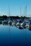 yacht harbour in the morning poster