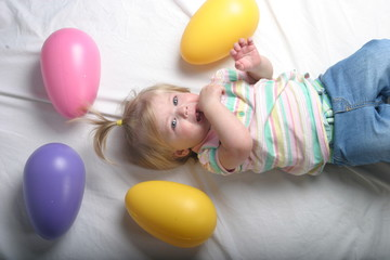 surrounded by easter eggs