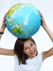 happy girl with globe