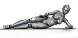 robot laying on frame edge poster