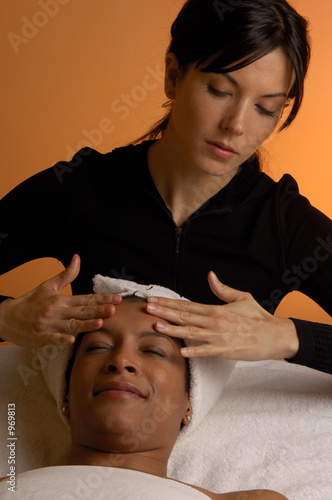 massaging head at day spa