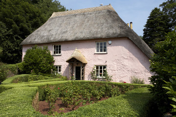 traditional pink painted english cottage