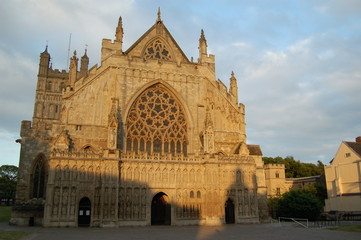 exeter cathedral evening light