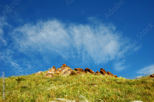 mountain crest against sky background