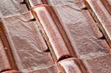 wet roofing tiles (closeup)