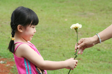 girl giving carnation to mother.