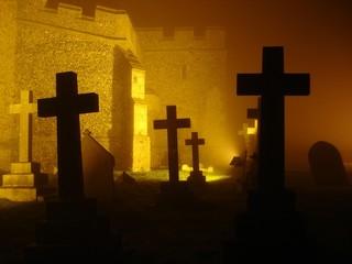 illuminated graveyard