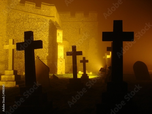 illuminated graveyard