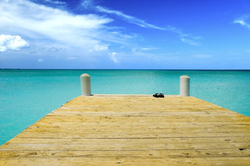 blue sky green water